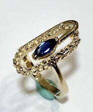 Lady's 14K Yellow Gold .40Ct Natural Blue Marquise Sapphire Nugget Ring.