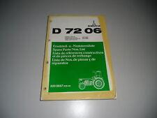 Liste Pièces Détachées Deutz Schlepper Tracteur D 7206 08/1975