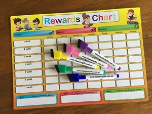 A4 Reward Chart Child Family Weekly Jobs Chores Whiteboard Fridge Magnet +2pens