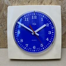 Vintage Smiths Timecal Blue & Cream Square Wall Clock - Working - 20cm