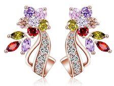 Boucles d'oreilles fleurs, pierres multicolores, plaqué argent et or rose