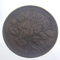 1856 Nova Scotia One 1 Penny Token Bronze Circulated KM 6 with LCW Victoria T885