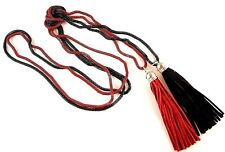 Red & Black Long Bohemian Double Layer Tassel Hollow Chain Necklace - #395