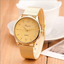 Luxus Gold Damen Edelstahl Armbanduhr Uhren Analog Quarz Lässig Wrist Watch Gift