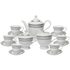 17 Pcs Silver Greek Key  Design Tea Set, Service For 6 Persons