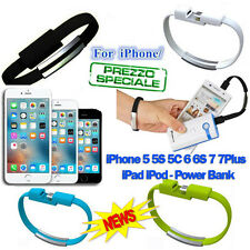 BRACCIALE USB IPHONE 5/5S/6/6S 7 7/S CAVO DATI CARICA SINCRONIZZA IPAD IPOD