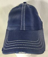 Baseball Hat Cap Blue White Adjustable Distressed Trucker Style