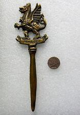 """Vintage brass letter opener Welsh dragon old souvenir of Wales bent 7.5"""" long"""