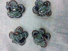 Magnifique lot 4 gros Bouton Bijoux Neuf turquoise et vert forme fleur