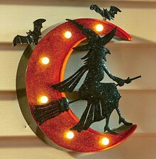 LIGHTED WITCH AND MOON MARQUEE SIGN WALL DOOR HALLOWEEN OUTDOOR HOME DECOR