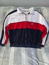 Fila Velour Velvet Blue/Red/White Stripe Full Zip Track Jacket Mens XXXL Vintage