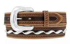 Tony Lama Western Mens Belt Leather Silverton Embossed Made In USA Tan