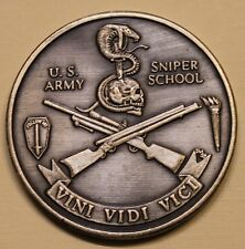 US Army Sniper School Silver Toned ser#60 Army Challenge Coin