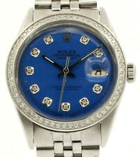 Mens Vintage ROLEX Oyster Perpetual Datejust 36mm Blue Dial Diamond Bezel Watch