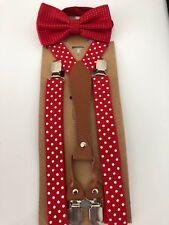 Adult Men Women Party Pants Dots Braces Suspender Clip Belt Bowtie bow tie Set