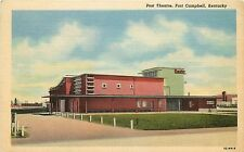 Vintage Linen Postcard; Post Theatre, Fort Campbell KY Christian County Unposted