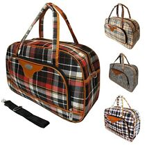 NEW CHECKED LADIES TRAVEL BAG LUGGAGE WEEKENDER OVERNIGHT GYM TOTE HOLDALL UK