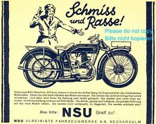 Motorcycle NSU german ad 1928 Germany bike xc