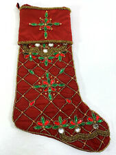 Kim Seybert Neiman Marcus Red Christmas Stocking Beaded Jeweled Holiday