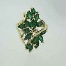 14k Yellow Gold Emerald Fashion Ring Size 9 1/2