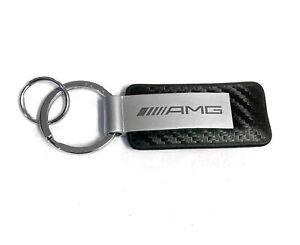 New Mercedes OEM AMG Car Key Holder Key Fob Keychain Ring Sport Black Leather