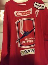 "2005-06 OHL AHL ECHL WINDSOR SPITFIRES ""A"" RYAN GARLOCK GAME WORN HOCKEY JERSEY"
