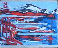 """André TELLIER  - """"""""  presqu'île de Gien """"  GOUACHE vers 1950/60"""