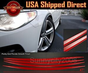 4 Pieces Flexible Slim Fender Flare Extension Red Protector Trim For Ford