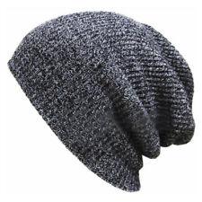 Gray Men Women Baggy Beanie Hat Knitted Ski Slouchy Cap Skull Warm Winter
