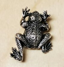 Frog Pin Brooch Vintage Silvertone Metal Toad Amphibian Costume Jewelry Gift