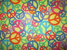 PEACE SYMBOLS MULTI COLORS YELLOW COTTON FLANNEL FABRIC FQ