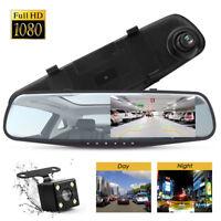HD LCD Mirror Monitor Dash Cam Dual Lens Car DVR Reverse + Rear View Camera Kit