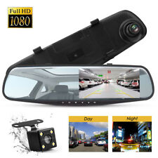 HD LCD Mirror Monitor Dash Cam Dual Lens Car DVR Reverse + Rear View Camera Kit