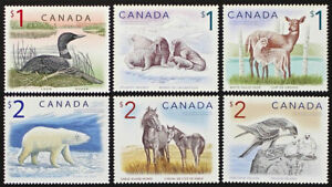 CANADA #1687/1690 $1 Loon to $2 Sable Island Horse High Values, 6 stamps Mint NH