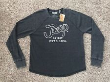 Lucky Brand Jeep 1941 Long Sleeve Shirt Pullover Sweater Gray Mens Large NEW