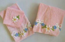 Vintage MCM Martex Pink Chenille Bath Towel 3 Pcs Set w Blue Flowers & Bows