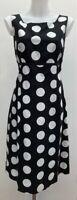 Laura Ashley Black White Dotty Spot Cotton Linen Empire Line Shift Midi Dress 14