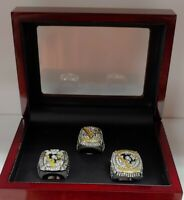 Sidney Crosby - Pittsburgh Penguins 3 Stanley Cup Ring Set WITH Wooden Box