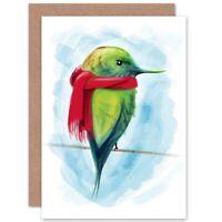 Cartoon Bird Winter Scarf Blank Greeting Card With Envelope