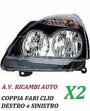 COPPIA FARI FANALE PROIETTORE ANTERIORE SX-DX RENAULT CLIO DA 2001 A 2005 P/NERA