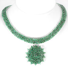 440 CTS!! OUTSTANDING! NATURAL AAA TRANSLUCENT GREEN EMERALD 925 SILVER NECLACE