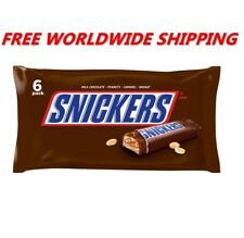 Snickers Milk Chocolate 6 Full Size Bars FREE WORLDWIDE SHIPPING