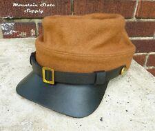 US Civil War Reenactors South Confederate Butternut Wool Kepi Hat Cap Size 2XL