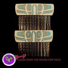 First Nation Haida Enamel Cloisonne ORCA FIN Hair Comb pair SIGNED