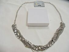 New Intertwined Chains 12 Strand Silver Tone Long 34 Inch Necklace.Nice