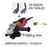 SMERIGLIATRICE ANGOLARE FLEX ELETTRICA 500 W 115 MM + 10 DISCHI DA TAGLIO