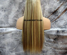 "23"" BLONDE MIX FLIP IN SECRET CLEAR WIRE HAIR PIECE EXTENSIONS NO CLIP IN/ON"