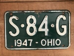 AMERICAN NUMBER PLATE ORIGINAL OHIO VINTAGE 1947 S.84.G AUTOMOBILIA