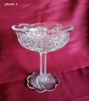 "Small Pressed Glass Compote. Candy/Nut dish w/ stem and base.5"" d  x  5.75"" h"