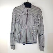 Lululemon Forme Jacket II TexturedPine Stripe Inkwell Athletic Black white 8